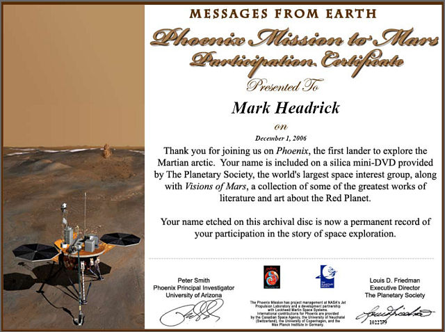 Pheonix Mission to Mars Certificate