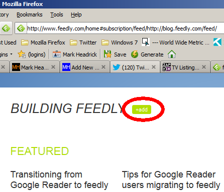 Add feed to Feedly