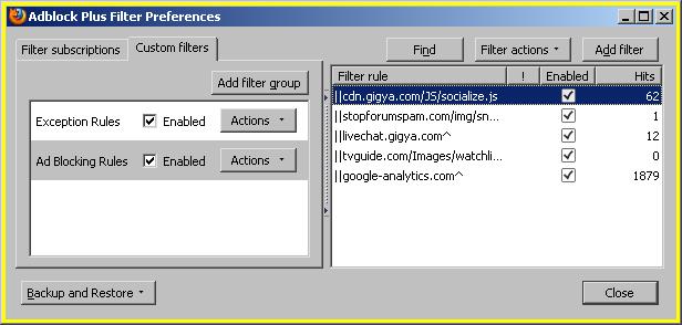 AdBlockPlus Filter Preferences