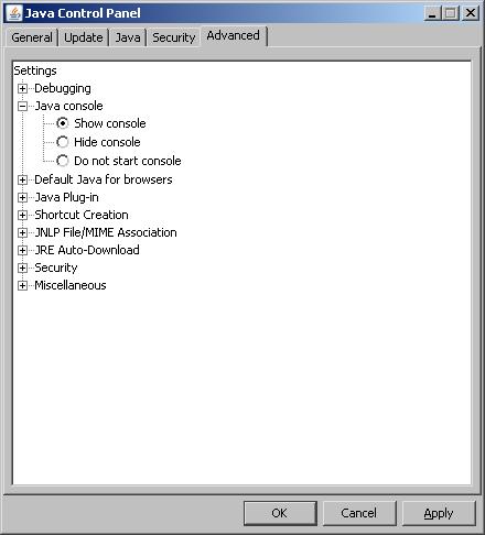 Java console setting