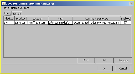 Java Runtime Environment Settings