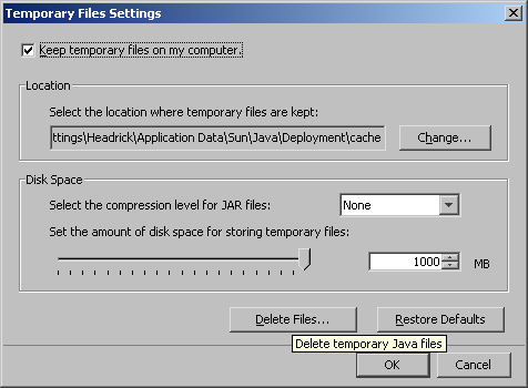 Java Temporary Files Settings