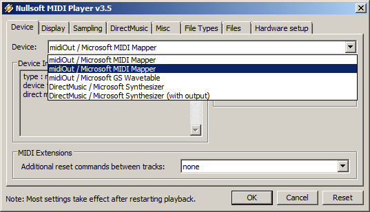 Winamp MIDI Device Setting