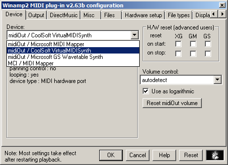 Winamp MIDI v2.63b Device Setting
