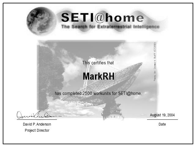 SETI 2500 Work Unit Certificate